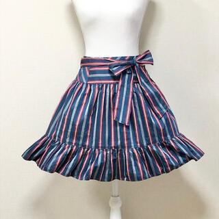 エミリーテンプルキュート(Emily Temple cute)の美品トリコロールレジメンタルストライプスカートフレンチマリン(ひざ丈スカート)