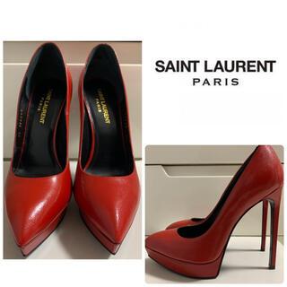 サンローラン(Saint Laurent)の未使用 美品 サンローラン レッドレザー パンプス(ハイヒール/パンプス)