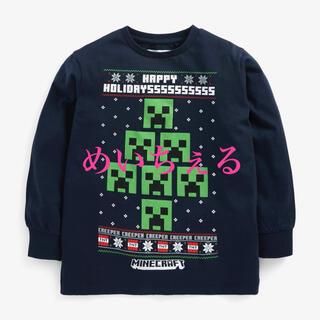 マイクロソフト(Microsoft)の【新品】ネイビークリスマスMinecraft 公式ライセンスゲーム柄長袖Tシャツ(Tシャツ/カットソー)