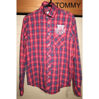 トミー(TOMMY)のメンズ tommy チェックシャツ サイズ M 赤 白 青 トリコロール(シャツ)
