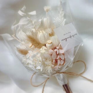 ベージュ系 ドライフラワー 花束 ブーケ スワッグ ギフト プリザ(ドライフラワー)