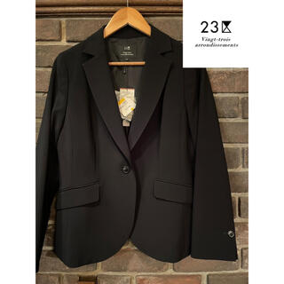 23区 パンツスーツ ジャケット セットアップ ブラック 一つボタン ビジネス