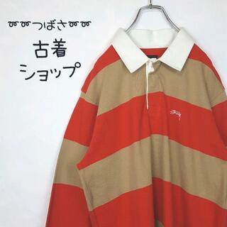 ステューシー(STUSSY)の【新品・タグ付き】STUSSY 太ボーダー ポロシャツ 刺繍 ワンポイント長袖(ポロシャツ)