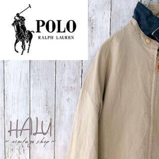 ポロラルフローレン(POLO RALPH LAUREN)の80s90s 3角タグ ポロラルフローレン ジッパージャンパー 胸ロゴ ベージュ(その他)