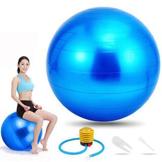 バランスボール ブルー エクササイズ ヨガ フィットネス 55cm ポンプ付(エクササイズ用品)