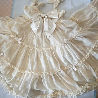 アンジェリックプリティー(Angelic Pretty)のアンプリ初期布タグ、初版ヴィンテージシフォン水玉、黄色ジャンパースカート(ひざ丈ワンピース)