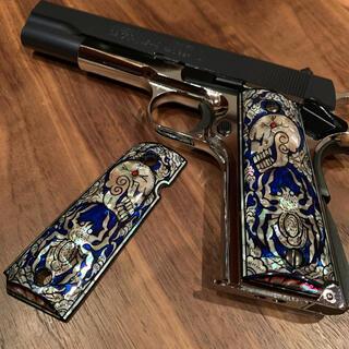 Colt 1911 マザーオブパール グリップ ブルースカルスコーピオン(その他)