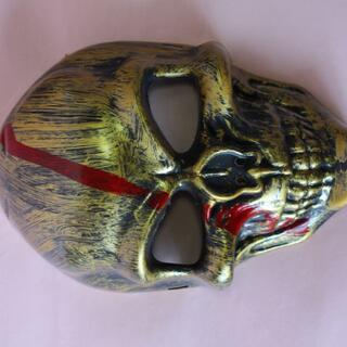 ⛵金色ドクロ骸骨お面スカル フェイスマスク仮面ハロウィン コスプレ衣装道具(小道具)
