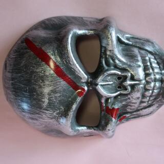 ⛵銀色ドクロ骸骨お面スカル フェイスマスク仮面ハロウィン コスプレ衣装道具(小道具)