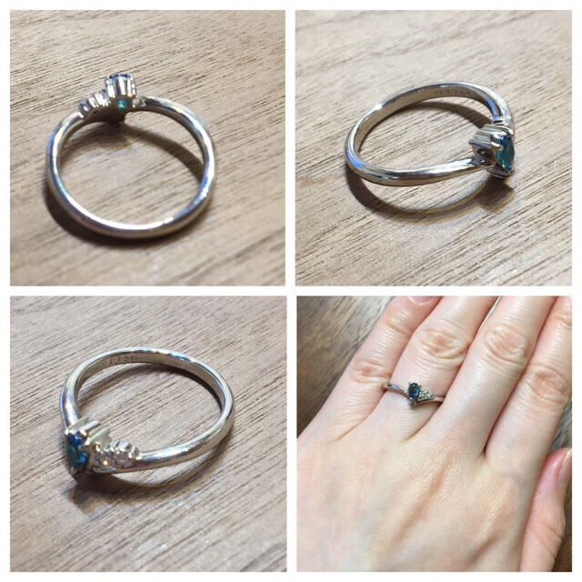 vitaminmomo様パライバ0.13ct&ダイヤ0.04ctPTリング レディースのアクセサリー(リング(指輪))の商品写真