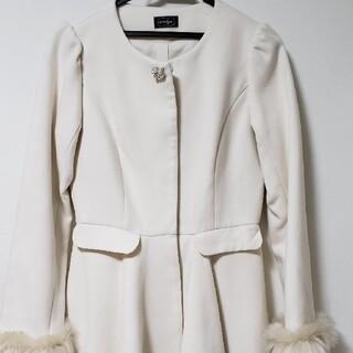 evelyn - 値下げ!♡evelyn♡ほぼ新品美品♡Aラインロングビジューコート ホワイト♡