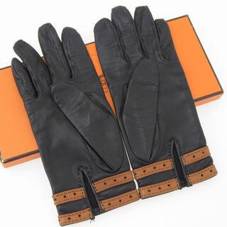 エルメス(Hermes)の美品 エルメス Hロゴ レザー グローブ サイズ7.5 手袋 ブラックxブラウン(手袋)
