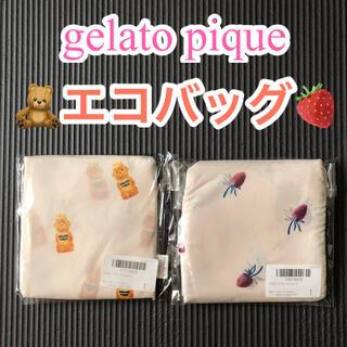 ジェラートピケ(gelato pique)のエコバッグ・サブバッグ【gelato pique】ハニーベア・ストロベリー柄(エコバッグ)