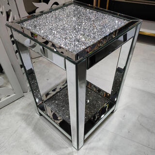 シルバーキラキラビジュー ミラー家具サイドテーブル