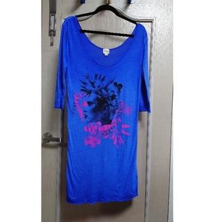 ディーゼル(DIESEL)のDIESEL ブルー 七分袖Tシャツ ロング丈 (Tシャツ(長袖/七分))