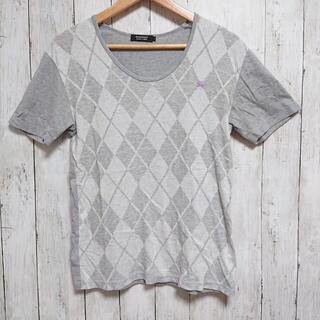 バーバリーブラックレーベル(BURBERRY BLACK LABEL)の美品 バーバリーブラックレーベル 半袖Tシャツ グレーのダイヤ ナイト刺繍(Tシャツ/カットソー(半袖/袖なし))