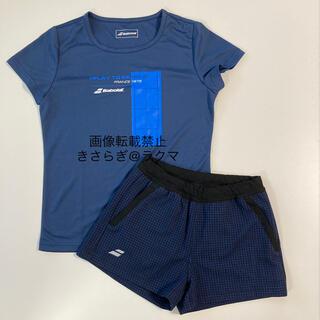 Babolat - 美品 バボラ  Tシャツ ショートパンツ セット L 紺 千鳥格子