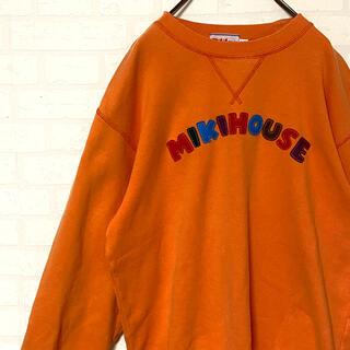 ミキハウス(mikihouse)の古着 MIKIHOUSE ミキハウス オレンジ スウェット 刺繍 レトロクマ M(トレーナー/スウェット)