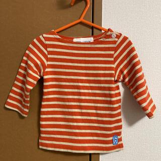 ドアーズ(DOORS / URBAN RESEARCH)のFORK&SPOON ボーダーロンT オレンジ×ベージュ 90cm(Tシャツ/カットソー)