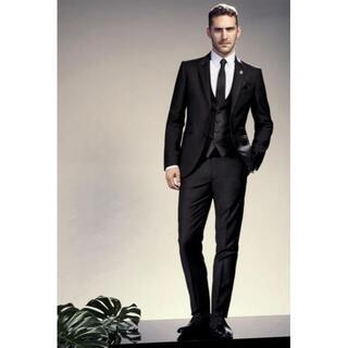 ビームス(BEAMS)の定価12万 逸品 46 ストラスブルゴ 3ピース ブラックスーツ 礼服(セットアップ)