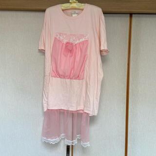ケイスケカンダ(keisuke kanda)のケイスケカンダ ネグリジェはみ出しTシャツ(Tシャツ(半袖/袖なし))