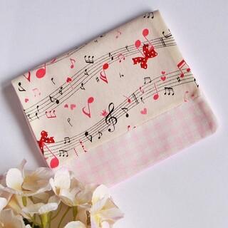 移動ポケット♪ハンドメイド♪赤い音符♪ギンガムチェック♪ピンク(外出用品)