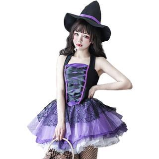 魔女 帽子セット ハロウィン コスプレ ゴスロリ ワンピースセクシー 大人ミニ丈(衣装一式)