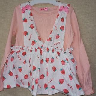 ベベ(BeBe)のkiss Drop いちごチュニック長袖セット110(Tシャツ/カットソー)