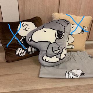 ユニクロ(UNIQLO)のスヌーピー グレーのクッションと袋(クッション)