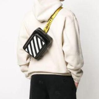 オフホワイト(OFF-WHITE)のOff-White ☆ 極美品 Diag レザー ベルト ボディバッグ(ボディーバッグ)