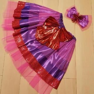 ボリュームスカート&髪用リボン ピンク×パープル系(衣装一式)