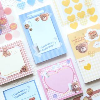 海外メモ♡ ファンシー テディベア ブロックメモ ステッカー 4種類 セット(印刷物)