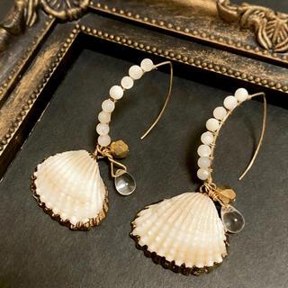 天然シェル 貝殻 ホワイトフックピアス(ピアス)