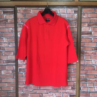 ステューシー(STUSSY)のSTUSSY ステューシー メンズ 七分袖ポロシャツ 赤 ピンクライン L(ポロシャツ)