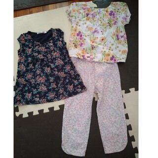 ローラアシュレイ(LAURA ASHLEY)の可愛いお花の総柄3枚セット! 半袖Tシャツパンツ オールドネイビー/ユニクロ(Tシャツ/カットソー)