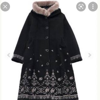 アクシーズファム(axes femme)のアクシーズファムバラ刺繍フード付きコート(ロングコート)
