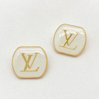 ルイヴィトン(LOUIS VUITTON)のルイビトン  ボタン  ホワイトxゴールド 2個(各種パーツ)