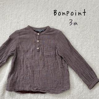 ボンポワン(Bonpoint)の♡Bonpoint♡3m 男女兼用 チェック柄シャツ ガーゼ生地 茶色(ブラウス)