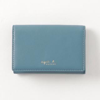 agnes b. - アニエスベー カードケース 名刺入れ ケース レザー 革 ブルー