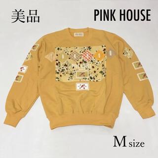 ピンクハウス(PINK HOUSE)の美品♪ ピンクハウス ワッペンいっぱい スウェット M 黄色 イチゴ レディース(トレーナー/スウェット)