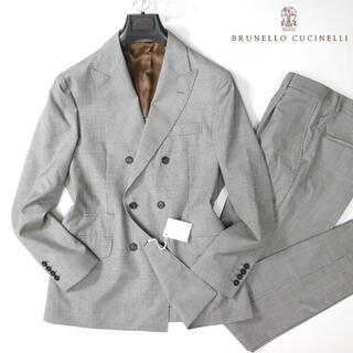 BRUNELLO CUCINELLI - ブルネロクチネリ 48万新品タグ付き最高級ガンクラブチェックダブルスーツ