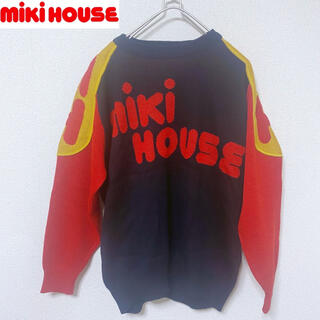 ミキハウス(mikihouse)の80年代 当時物 ビンテージ古着 黒 ミキハウス ビッグロゴ ニットセーター(ニット/セーター)