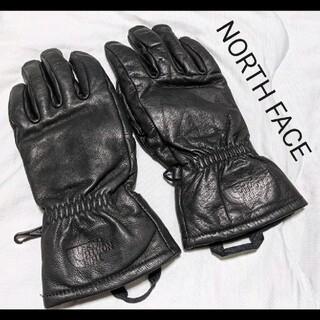 ザノースフェイス(THE NORTH FACE)の美品 ノースフェイス やぎ革 ブラック レザー 手袋 フリース(手袋)