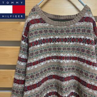 トミーヒルフィガー(TOMMY HILFIGER)のTommyHilfiger  ニット セーター 総柄 希少 ビッグシルエット(ニット/セーター)