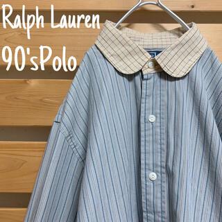 ポロラルフローレン(POLO RALPH LAUREN)のポロ ラルフローレン 丸襟 長袖シャツ アースカラー ビッグシルエット 90s(シャツ)