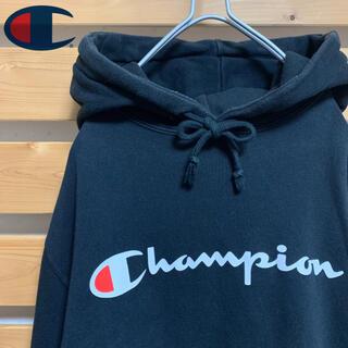 チャンピオン(Champion)のChampion パーカー プルオーバー ブラック デカロゴ ビッグシルエット(パーカー)