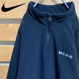 ナイキ(NIKE)のNIKE ハーフジップ フリース 刺繍ロゴ ビッグシルエット 90s 古着(スウェット)