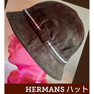 クラッシャーハット★バケットハット★ユニセックス★帽子★HERMANS★ブラウン(ハット)