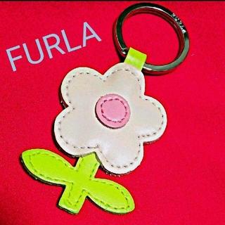 フルラ(Furla)のFURLA フルラ  レザー フラワー チャーム・キーホルダー、美品(キーホルダー)