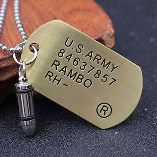 US ARMY 米軍 DOG TAG ドッグタグ ネックレス ゴールド